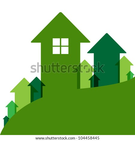 Home Value, House Values And Prices Up, Vector Illustration - stock vector