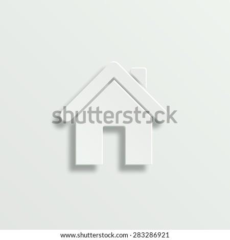 Home vector icon - paper illustration - stock vector