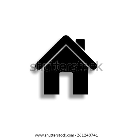 Home vector icon with shadow - stock vector