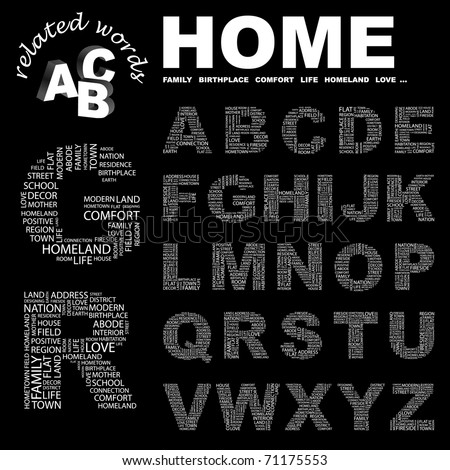 HOME. Vector letter collection. Illustration with different association terms.