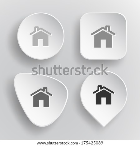 Home. White flat vector buttons on gray background. - stock vector