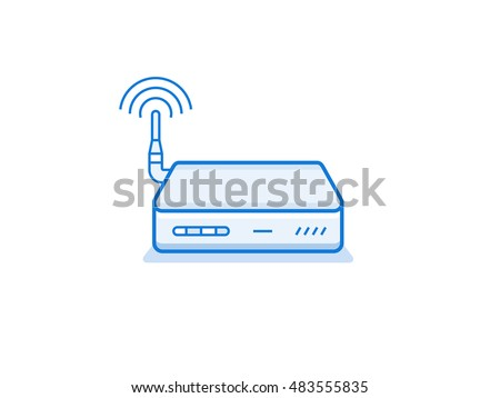 Home wi-fi router icon. Network device series vector illustration