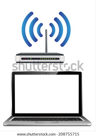 Home wifi network. Internet via router on laptop - stock vector