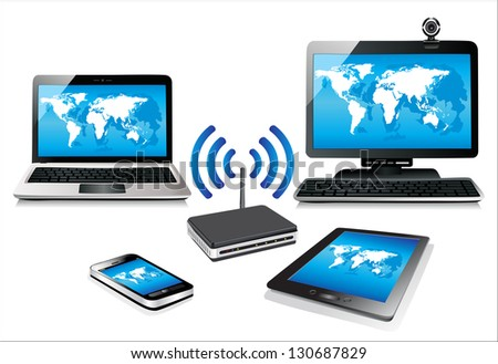 Home wifi network. Internet via router on pc, phone, laptop and tablet pc. - stock vector