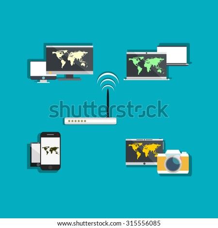 stock vector home wifi network internet via router on pc phone laptop and tablet pc 315556085 cable leds modem stock photos, royalty free images & vectors,Home Wifi Network Design