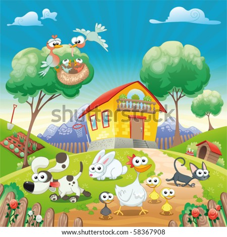 Home with Animals. Funny cartoon and vector illustration. Isolated objects. - stock vector