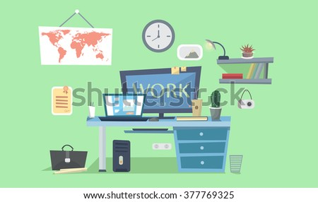 Home Work place. Designer work space, desk with computer. Flat design interior concept  with computer. Study at home workplace. - stock vector