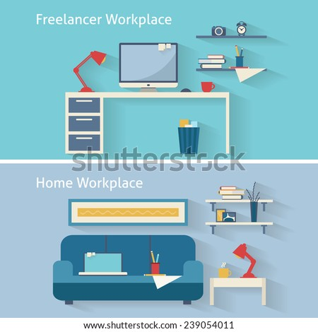 Home workplace flat vector design. Workspace for freelancer and home work. Flat style vector illustration. - stock vector