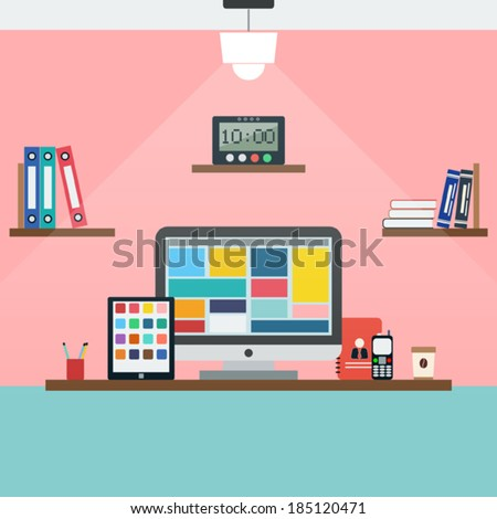 Home workplace flat vector illustration - stock vector