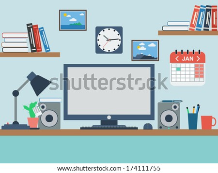 Home workspace flat vector illustration - stock vector