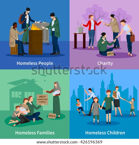 Homeless icons set with people warm themselves around the fire, begging, receiving donations and homeless children and families vector illustration - stock vector