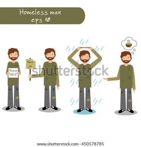Homeless man begging for money, job, food, help. Vector illustration of beggar character - stock vector