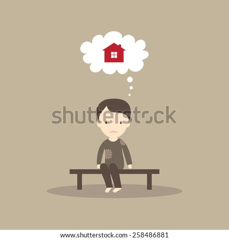 Homeless man dreaming of a house - stock vector