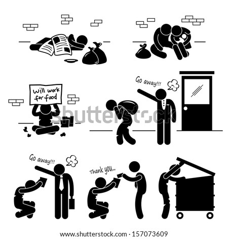 Homeless Black Man Clipart Homeless man family beggar