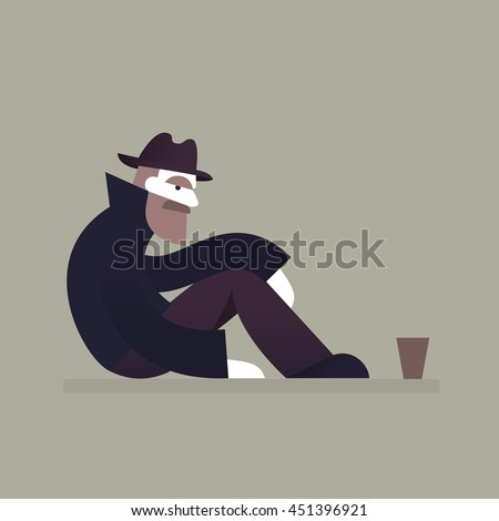 Homeless man sitting on street. Homelessness and unemployment concept. Vector.  - stock vector