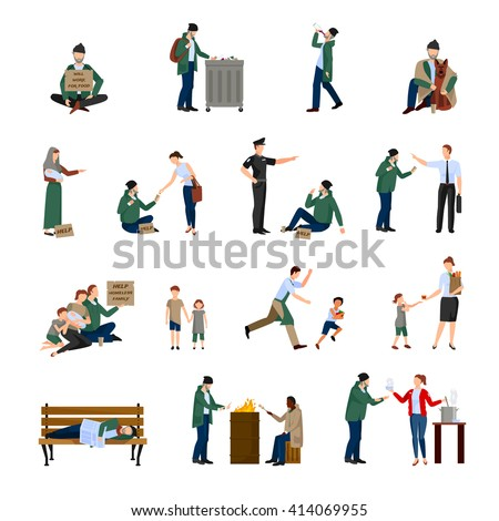 Homeless people icons set begging on the streets and survive in harsh conditions vector illustration - stock vector