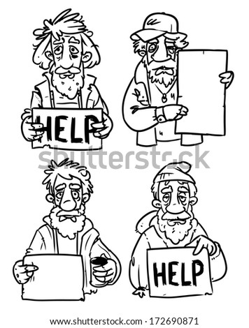 homeless people with help sign. black and white illustration