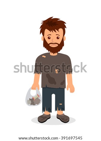 Homeless. Shaggy man in dirty rags and with a bag in his hand. Isolated character bum for infographics - stock vector