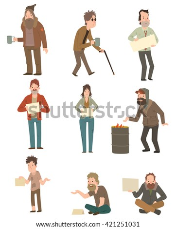 Homeless skinny saggy man in dirty old clothes character set. Homeless guys isolated on white background. Homeless character. Homeless human vector illustration. Homeless poor social people. - stock vector