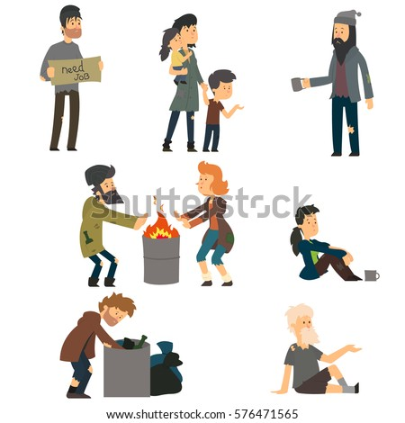 Homeless. Vector cartoon illustration isolated on white background