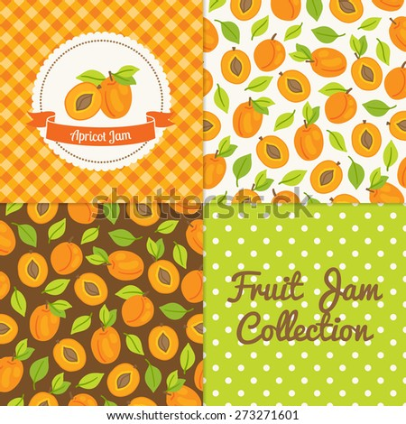 Homemade apricot jam collection. Paper label and seamless patterns with Gingham, Polka Dot and Berries on color and light background. Perfect for wallpaper, wrapping paper, textile and package design - stock vector