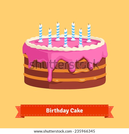 Homemade birthday cake with a pink frosting. Flat style illustration. EPS 10 vector. - stock vector