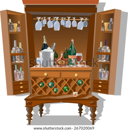 homemade Cabinet with alcoholic beverages - stock vector