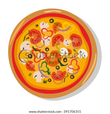 Homemade hot italian pizza icons. Pizza isolated on white, pepperoni pizza. Vector EPS10