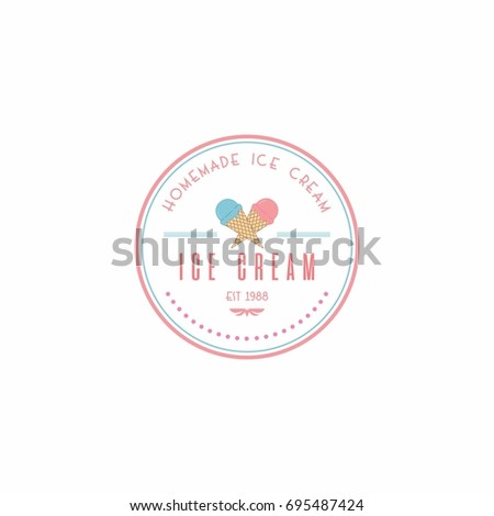 Homemade Ice Cream Logo Template Vector Stock Vector 695487424 ...