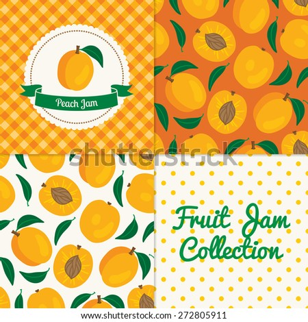 Homemade peach jam collection. Paper label and seamless patterns with Gingham, Polka Dot and Berries on color and light background. Perfect for wallpaper, wrapping paper, textile and package design - stock vector