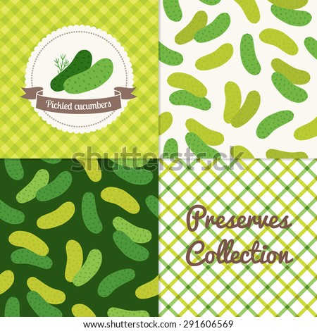 Homemade pickled cucumbers collection. Paper label and seamless patterns with Gingham and Vegetables on color and light background. Perfect for wallpaper, wrapping paper, textile, package design