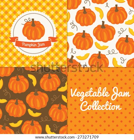Homemade pumpkin jam collection. Paper label and seamless patterns with Gingham, Polka Dot and Berries on color and light background. Perfect for wallpaper, wrapping paper, textile and package design - stock vector