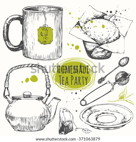Homemade tea party. Traditions of teatime.  Cup, cuocake, spoon and teapot in sketch style. Decorative elements for your design. Vector Illustration with tea party symbols on white background.  - stock vector