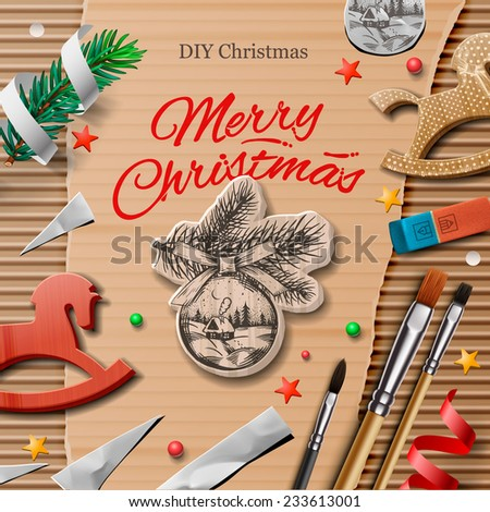 Homemade wrapped christmas presents with art and craft elements, vector illustration.  - stock vector