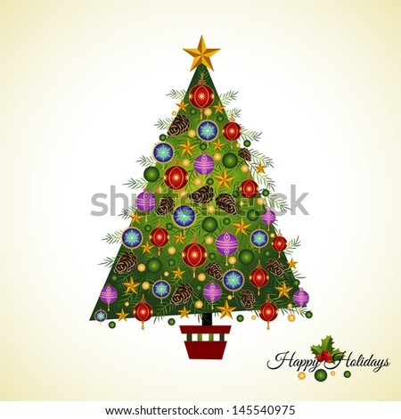 Homespun Asymmetrical  hand decorated Pine Christmas  tree - stock vector