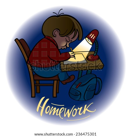 Homework little schoolboy doing his task - stock vector