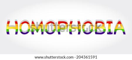 Homophobia stylized word with rainbow. Homophobia word - stock vector
