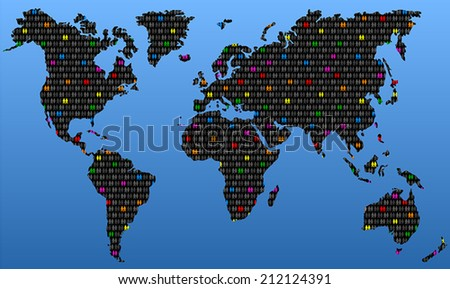 Homosexual couples evenly distributed among heterosexual couples around the world. Vector illustration on blue gradient background. - stock vector