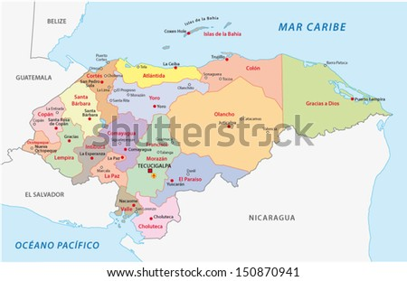 Honduras Administrative Map Stock Vector 150870941 Shutterstock