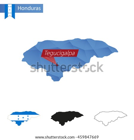Honduras blue Low Poly map with capital Tegucigalpa, versions with flag, black and outline. Vector Illustration. - stock vector