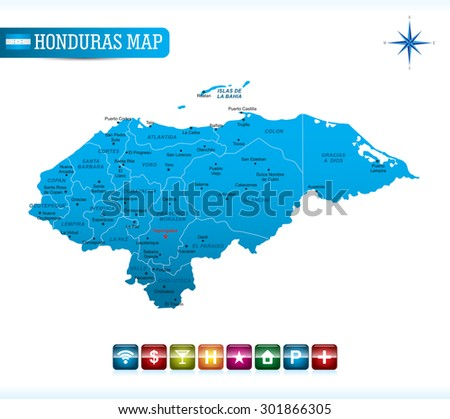 Honduras Blue Map - stock vector