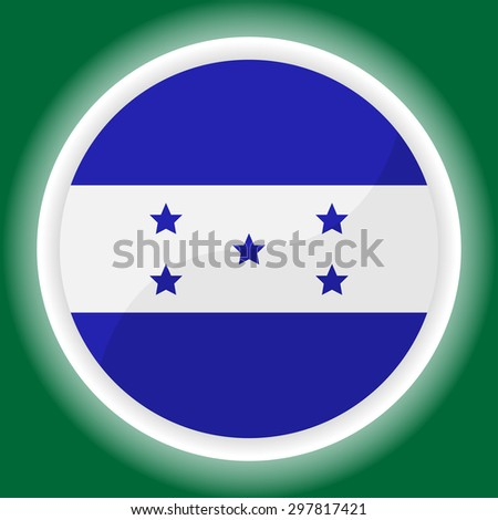 Honduras Flag Button on green  background  - stock vector