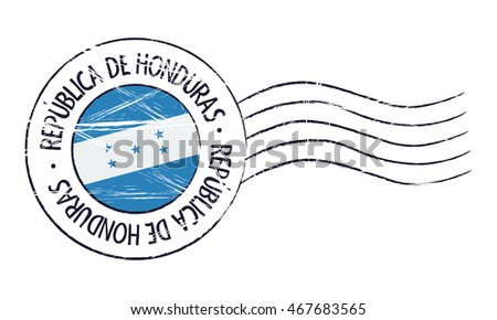 Honduras grunge postal stamp and flag on white background