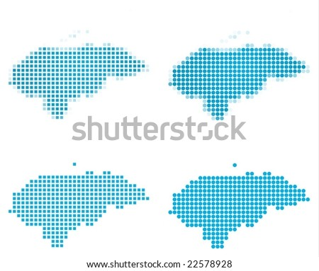 Honduras map mosaic set. Isolated on white background. - stock vector