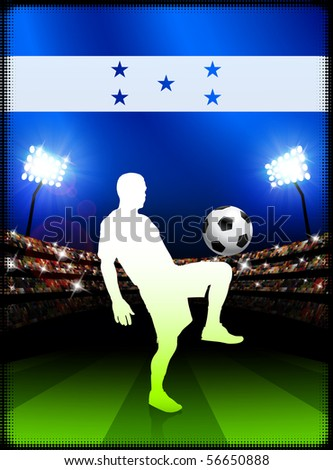 Honduras Soccer Player with Flag on Stadium Background Original Illustration - stock vector
