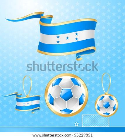 Honduras soccer vector flag banner - stock vector