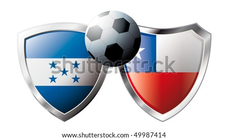 Honduras versus Chile abstract vector illustration isolated on white background.  Shiny football shield of flag Honduras versus Chile - stock vector