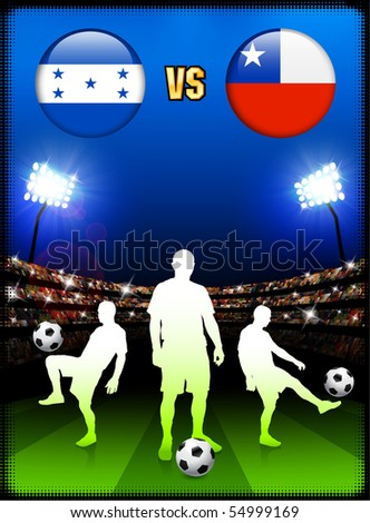 Honduras versus Chile on Stadium Event Background Original Illustration - stock vector
