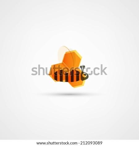 Honey and bee icon - stock vector