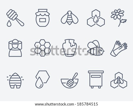 Honey and beekeeping icons - stock vector